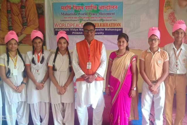 World Peace Day was celebrated today at Maharishi Vidya Mandir Bareilly UP. Programme was started with Shri Guru Parampara Pujan followed by Pranayam and group practice of TM.