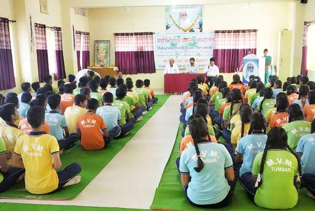 Today on 21 September 2019, World Peace Day Celebrated in School Premises. At the occasion Mr. Nitin SAdgir, S.D.O, Tumsar was The Chief Guest of Function. Mrs. Urmila Turkar (TGT) has given Introductory Speech of Maharishi World Peace Movement. Principal Dhirendra Purohit Welcome The Chief Guest by offering him a bouquet. Shree Guru Parampara Poojan was done after Guest's welcome. T.M. Teacher Mr. Akhil Mishra taken Pranayam and Group Practice of T.M. for All Students of Class IX & X with their Teachers. Speech regarding Maharishi World Peace Movement and his importance was explained by The Principal. Then Mr. Nitin Sadgir shared his valuable experience of Meditation in his speech. In the last OATH taking was done by the Principal. Mr. Umesh Chauhan has given Vote of Thanks. Kindly acknowledge the receipt for the same.