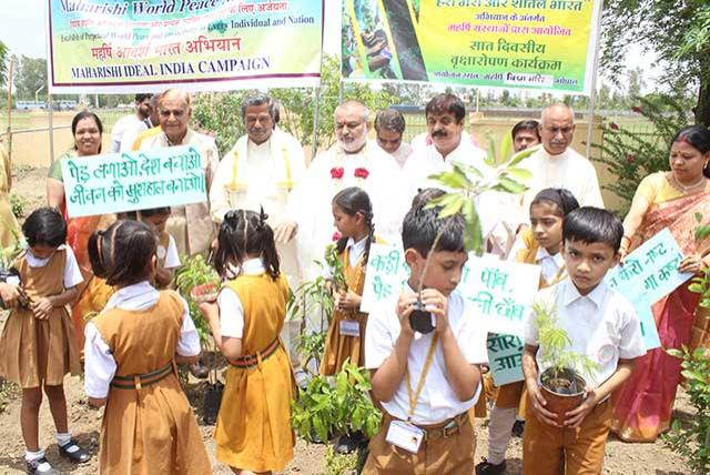 Guru Purnima was celebrated in grand way at Maharishi Mangalam Auditorium, Maharishi Vidya Mandir School campus, Hoshangabad Road, Bhopal on 16 July 2019. Plantation was rganized after the first session of the celebration. All dignitaries, faculty, teachers and students have planted arieties of the trees. Young students have narrated many beautiful slogans and were also holding the same with saplings.