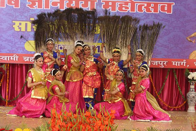Students of MVM performing 'Pea cock Radha Krishna dance' during Sanskriti Diwas Celebration 2019.