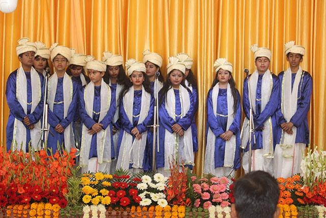 Students of Maharishi Centre for Educational Excellence singing devotional song